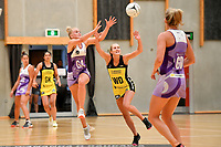 Stars&rsquo; Hllen Halpenny and Pulse&rsquo; Maddy Gordon in action during the Netball Pre Season Tournament - Pulse v Stars at Ngā Purapura, Otaki, New Zealand on Saturday 9 February  2019. <br />