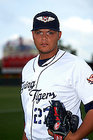 Lakeland Flying Tigers pitcher Joe Jimenez (27) poses for a photo before a game against the Jupiter Hammerheads on April 14, 2016 at Henley Field in Lakeland, Florida.  Lakeland defeated Jupiter 5-0.  (Mike Janes/Four Seam Images)