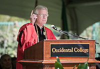 "Professor A.H. ""Woody"" Studenmund accepts a posthumous honorary degree for his son, U.S. Army Special Forces Staff Sgt. Scott Studenmund, at Occidental College's 133rd Commencement at the Remsen Bird Hillside Theater, on Sunday, May 17, 2015.<br /> (Photo by Marc Campos, Occidental College Photographer)"