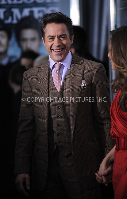 WWW.ACEPIXS.COM . . . . . ....December 17 2009, New York City....Actor Robert Downey Jr arriving at the New York premiere of 'Sherlock Holmes' at the Alice Tully Hall, Lincoln Center on December 17, 2009 in New York City.....Please byline: KRISTIN CALLAHAN - ACEPIXS.COM.. . . . . . ..Ace Pictures, Inc:  ..(212) 243-8787 or (646) 679 0430..e-mail: picturedesk@acepixs.com..web: http://www.acepixs.com