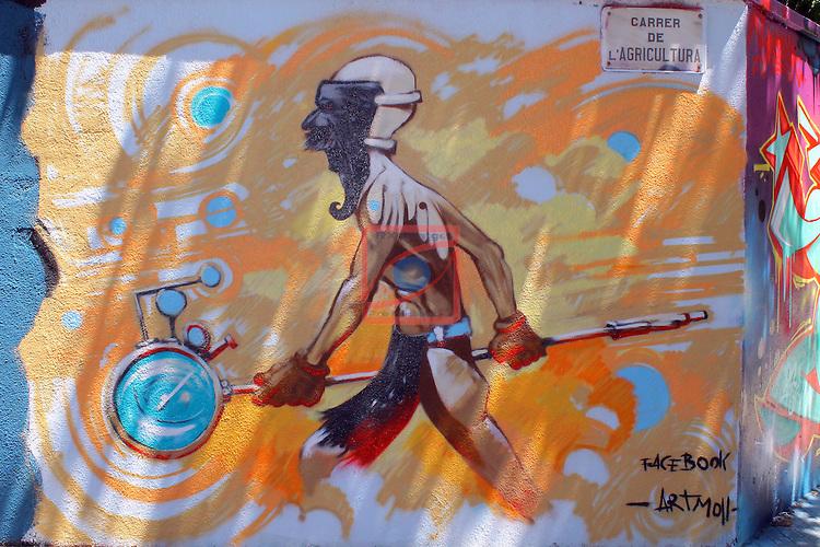Street Art-Graffittis.<br /> Barcelona, carrer Agricultura, Poblenou.