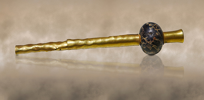 Bronze Age Hattian gold decorated mace from Grave K,  possibly a Bronze Age Royal grave (2500 BC to 2250 BC) - Alacahoyuk - Museum of Anatolian Civilisations, Ankara, Turkey. Against a warm art background