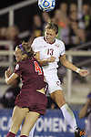 06 December 2013: Florida State's Kristen Grubka (13) and Virginia Tech's Shannon Mayrose (4). The Florida State Seminoles defeated the Virginia Tech University Hokies 3-2 at WakeMed Stadium in Cary, North Carolina in a 2013 NCAA Division I Women's College Cup semifinal match.
