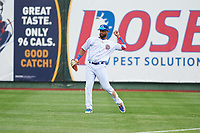 South Bend Cubs right fielder Jonathan Sierra (32) during a Midwest League game against the Cedar Rapids Kernels at Four Winds Field on May 8, 2019 in South Bend, Indiana. South Bend defeated Cedar Rapids 2-1. (Zachary Lucy/Four Seam Images)