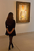 Pictured: Painting Giovanotto dai Capelli Rossi 1919 by Modigliani. Estimated to fetch $8-12 million.<br /> <br /> Christie's London unveils touring highlights from the New York &quot;Impressionist &amp; Modern Art Evening Sale&quot; which are on free public view from 28 March to 1 April, ahead of the auction in New York on 6 May 2014.