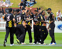 The Firebirds celebrate a wicket during the Burger King Super Smash Twenty20 cricket match between the Wellington Firebirds and Otago Volts at the Hawkins Basin Reserve in Wellington, New Zealand on Sunday, 31 December 2017. Photo: Dave Lintott / lintottphoto.co.nz