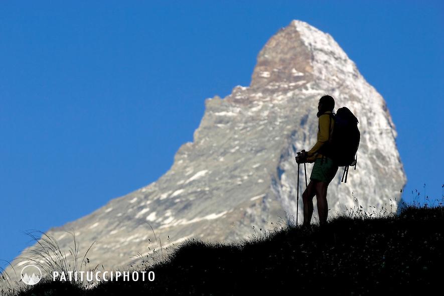 Janine Patitucci hiking in Zermatt, Switzerland with the Matterhorn in the background