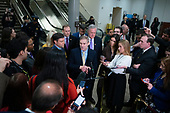 United States Representative Jim Jordan (Republican of Ohio), joined by United States Representative Mark Meadows (Republican of North Carolina), United States Representative Mike Johnson (Republican of Louisiana), United States Representative Lee Zeldin (Republican of New York), and United States Representative John Ratcliffe (Republican of Texas) speak to members of the media in the Senate Subway during a break in the impeachment trial of United States President Donald J. Trump at the United States Capitol in Washington D.C., U.S., on Monday, January 27, 2020.<br />  <br /> Credit: Stefani Reynolds / CNP
