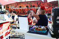 St. Louis, MO - Thursday May 16, 2019: The women's national teams of the United States (USA) and New Zealand (NZL) play in an international friendly match at Busch Stadium. Face painting.