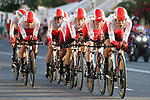 Cofidis in action during Stage 1 of La Vuelta 2019, a team time trial running 13.4km from Salinas de Torrevieja to Torrevieja, Spain. 24th August 2019.<br /> Picture: Luis Angel Gomez/Photogomezsport | Cyclefile<br /> <br /> All photos usage must carry mandatory copyright credit (© Cyclefile | Luis Angel Gomez/Photogomezsport)