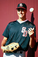 Travis Lee of the San Diego State Aztecs at Dedeaux Field in Los Angeles,California during the 1996 season. (Larry Goren/Four Seam Images)