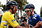 Race leader Yellow Jersey Egan Bernal (COL) Team Sky wins the 77th edition of Paris-Nice 2019, pictured with team mate Tao Geoghegan Hart (GBR) at the end of Stage 8 running 110km from Nice to Nice, France. 16th March 2019<br /> Picture: ASO/Alex Broadway | Cyclefile<br /> All photos usage must carry mandatory copyright credit (&copy; Cyclefile | ASO/Alex Broadway)