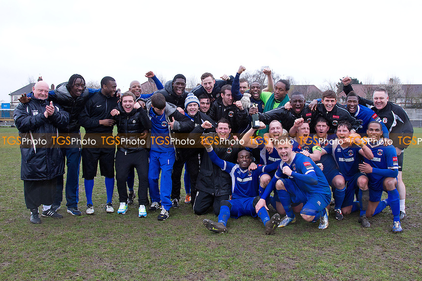 Grays Athletic celebrate their victory and secure the Ryman One North Championship - Grays Athletic vs Maldon & Tiptree - Ryman League Division One North Football - 13/04/13 - MANDATORY CREDIT: Ray Lawrence/TGSPHOTO - Self billing applies where appropriate - 0845 094 6026 - contact@tgsphoto.co.uk - NO UNPAID USE.