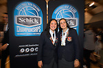 St Peter's School's Charlisse Leger-Walker and Ella Bradley after 2019 Schick AA Girls' Secondary Schools Basketball National Championships at the Central Energy Trust Arena in Palmerston North, New Zealand on Saturday, 5 October 2019. Photo: Dave Lintott / lintottphoto.co.nz