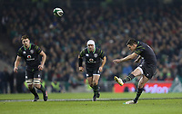 Saturday 11th November 2017; Ireland vs South Africa<br /> Jonathan Sexton converts during the Guinness Autumn Series between Ireland and South Africa at the Aviva Stadium, Lansdowne Road, Dublin, Ireland.  Photo by DICKSONDIGITAL