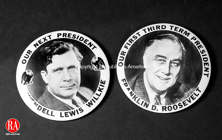 WATERBURY, CT- 30 OCT 06- 103006JT01- <br /> Three-and-a-half inch wide buttons from the 1940 presidential election of Wendell Lewis Willkie and Franklin D. Roosevelt.<br /> Josalee Thrift Republican-American