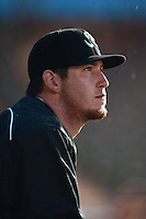 Jupiter Hammerheads pitcher Josh Hodges (33) in the dugout during a game against the Bradenton Marauders on April 17, 2014 at McKechnie Field in Bradenton, Florida.  Bradenton defeated Jupiter 2-1.  (Mike Janes/Four Seam Images)