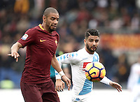 Roma&rsquo;s Bruno Peres, left, is challenged by Napoli&rsquo;s Lorenzo Insigne in action during the Italian Serie A football match between Roma and Napoli at Rome's Olympic stadium, 4 March 2017. <br /> UPDATE IMAGES PRESS/Isabella Bonotto