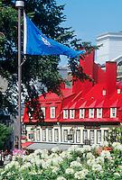 Red roofed building on Rue du Tresor, Quebec City, Quebec, Canada