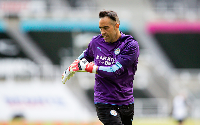 Manchester City's Claudio Bravo warms up <br /> <br /> Photographer Alex Dodd/CameraSport<br /> <br /> FA Cup Quarter-Final - Newcastle United v Manchester City - Sunday 28th June 2020 - St James' Park - Newcastle<br />  <br /> World Copyright © 2020 CameraSport. All rights reserved. 43 Linden Ave. Countesthorpe. Leicester. England. LE8 5PG - Tel: +44 (0) 116 277 4147 - admin@camerasport.com - www.camerasport.com