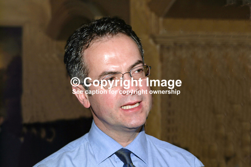 Alex Attwood, SDLP member of the New N Ireland Assembly for West Belfast. Ref: 2000110849.<br /> <br /> Copyright Image from Victor Patterson,<br /> 54 Dorchester Park, <br /> Belfast, UK, BT9 <br /> <br /> t1: +44 28 9066 1296 (from Rep of Ireland 048 90661296)<br /> t2: +44 28 9002 2446 (from Rep of Ireland 048 9002 2446)<br /> <br /> m: +44 7802 353836<br /> <br /> e: victorpatterson@me.com<br /> www.victorpatterson.com<br /> <br /> Please see my Terms and Conditions of Use at www.victorpatterson.com. It is IMPORTANT that you familiarise yourself with them.<br /> <br /> Images used on the Internet must be visibly watermarked i.e. &copy; Victor Patterson<br /> within the body of the image and copyright metadata must not be deleted. Images <br /> used on the Internet have a size restriction of 4kbs and will be chargeable at current<br />  NUJ rates unless agreed otherwise.<br /> <br /> This image is only available for the use of the download recipient i.e. television station, newspaper, magazine, book publisher, etc, and must not be passed on to any third <br /> party. It is also downloaded on condition that each and every usage is notified within 7 days to victorpatterson@me.com<br /> <br /> The right of Victor Patterson to be identified as the author is asserted in accordance with The Copyright Designs And Patents Act (1988). All moral rights are asserted.