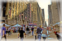 Looking along the Avenue of the Americas of the Saturday street market in NYC