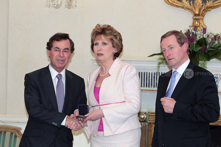 9/3/11 Alan Shatter, Minister for Justice, Equality and Defence with President Mary McAleese and Taoiseach Enda Kenny at Aras An Uachtarain for the appoinment of the Government. Pictures:Arthur Carron/Collins