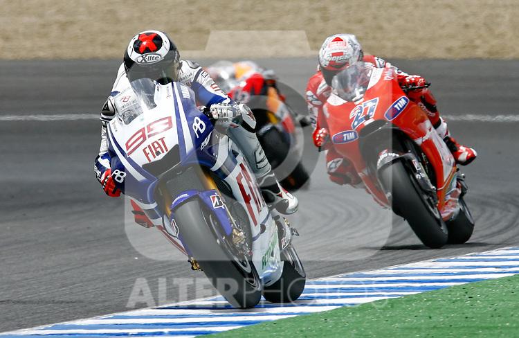 MOTOCICLISMO - G.P. ESPAÑA - JEREZ DE LA FRONTERA - 2/5/2010 - MOTOGP - JORGE LORENZO / CASEY STONER
