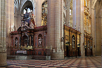 Retroquire (retro-choir or retrochoir or Back-Choir) with central altarpiece by Humbert Dumandre, 1758, lateral pieces by Ventura Rodriguez and Juan de la Torre, Segovia Cathedral, (Catedral de Segovia, Catedral de Santa Maria), 1525-77, by Juan Gil de Hontanon (1480-1526), and continued by his son Rodrigo Gil de Hontanon (1500-1577), Segovia, Castile and Leon, Spain. Picture by Manuel Cohen