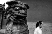 Large stone statue in the Huayan Monastery, Datong, Shanxi, China.