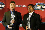 12 November 2004: New England Revolution's Pat Noonan (left) and MetroStars' Amado Guevara (right) received their awards for sharing the league's Budweiser Scoring Champion title. Major League Soccer held their annual pre-MLS Cup press conference at the Home Depot Center in Carson, CA two days before the Kansas City Wizards were scheduled to play DC United in the league's annual championship game..