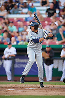 West Michigan Whitecaps first baseman Reynaldo Rivera (14) at bat during a game against the Kane County Cougars on July 19, 2018 at Northwestern Medicine Field in Geneva, Illinois.  Kane County defeated West Michigan 8-5.  (Mike Janes/Four Seam Images)