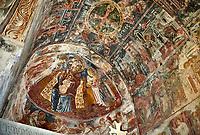 Picture & image the interior apse medieval frescoes of Theotokos, depicting the Virgin Mary, the Mother of God, and child, Khobi Georgian Orthodox Cathedral, 13th century,  Khobi Monastery, Khobi, Georgia.