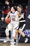 SIOUX FALLS, SD - MARCH 7:  Carolina Hogue #30 of Omaha defends against shooter Ellie Thompson #45 of South Dakota State in the 2016 Summit League Tournament. (Photo by Dick Carlson/Inertia)