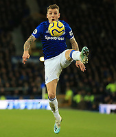 11th January 2020; Goodison Park, Liverpool, Merseyside, England; English Premier League Football, Everton versus Brighton and Hove Albion; Lucas Digne of Everton controls the ball  - Strictly Editorial Use Only. No use with unauthorized audio, video, data, fixture lists, club/league logos or 'live' services. Online in-match use limited to 120 images, no video emulation. No use in betting, games or single club/league/player publications