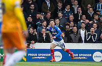 Conor Chaplin of Portsmouth celebrates scoring his goal during the Sky Bet League 2 match between Portsmouth and Wycombe Wanderers at Fratton Park, Portsmouth, England on 23 April 2016. Photo by Andy Rowland.