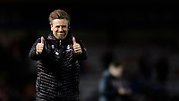 Lincoln City's assistant manager Nicky Cowley celebrates at the end of the game<br /> <br /> Photographer Chris Vaughan/CameraSport<br /> <br /> The EFL Sky Bet League Two - Lincoln City v Yeovil Town - Friday 8th March 2019 - Sincil Bank - Lincoln<br /> <br /> World Copyright © 2019 CameraSport. All rights reserved. 43 Linden Ave. Countesthorpe. Leicester. England. LE8 5PG - Tel: +44 (0) 116 277 4147 - admin@camerasport.com - www.camerasport.com
