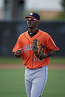 Houston Astros Nestor Muriel (23) warms up before an instructional league game against the Atlanta Braves on October 1, 2015 at the Osceola County Complex in Kissimmee, Florida.  (Mike Janes/Four Seam Images)