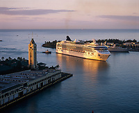 Cruise Ship at Sunrise, Aloha Tower Marketplace, Honolulu, Oahu, Hawaii, USA.