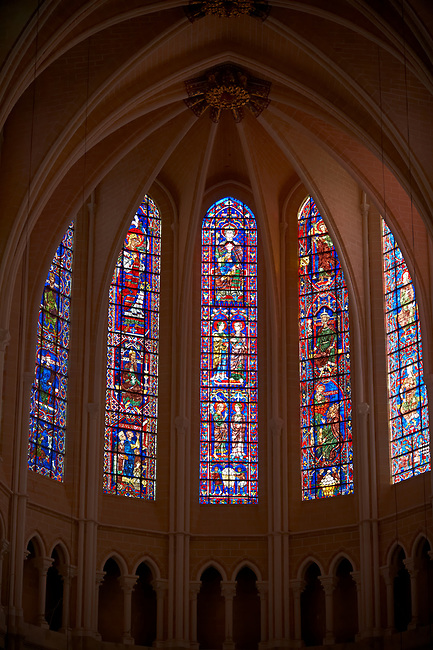 Medieval stained glass Windows of the Gothic Cathedral of Chartres, France. A UNESCO World Heritage Site.