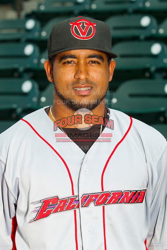 California League All-Star Raywilly Gomez #6 of the Visalia Rawhide at BB&T Ballpark on June 19, 2012 in Winston-Salem, North Carolina.  (Brian Westerholt/Four Seam Images)