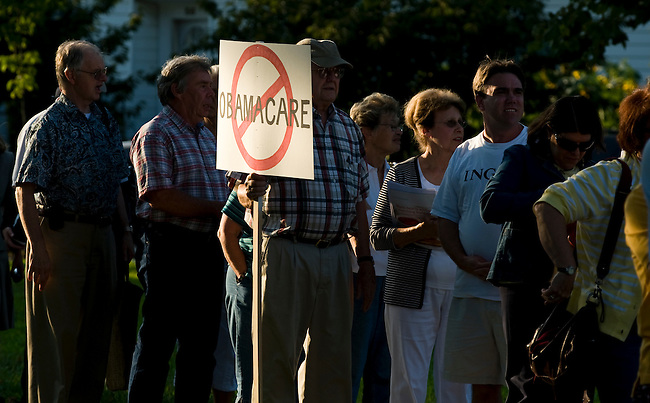 Constituents stand in line for Rep. Frank Pallone's town hall meeting at Red Bank Middle School in Red Bank, N.j., on Aug. 25, 2009. Well over 1000 people showed up for the 500 person capacity auditorium forcing Rep. Pallone to do multiple town hall sessions.