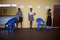 KINSHASA, DRC - KINSHASA - JULY 22: Models at a fitting before a show at Kinshasa Fashion Week on July 22, 2015, at the boxing gym at Shark club in Kinshasa, DRC. Local and invited foreign-based designers showed their collections during the 2015 edition of Kinshasa Fashion week. (Photo by Per-Anders Pettersson)