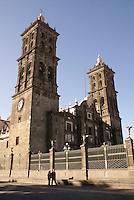 Cathedral or catedral  in the city of Puebla, Mexico. The historical center of Puebla is a UNESCO World Heritage Site..