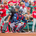 11 March 2016: MLB Umpire crouches behind Atlanta Braves catcher A.J. Pierzynski during a Spring Training pre-season game between the Philadelphia Phillies and the Atlanta Braves at Champion Stadium in the ESPN Wide World of Sports Complex in Kissimmee, Florida. The Phillies defeated the Braves 9-2 in Grapefruit League play. Mandatory Credit: Ed Wolfstein Photo *** RAW (NEF) Image File Available ***