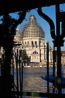 Scaffolding on the dome of San Maria della Salute, Grand Canal Venice, Italy 2007