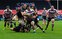 Cardiff Blues' Josh Navidi makes a break for the try line.<br /> <br /> Photographer Dan Minto/CameraSport<br /> <br /> Guinness Pro14 Round 13 - Ospreys v Cardiff Blues - Saturday 6th January 2018 - Liberty Stadium - Swansea<br /> <br /> World Copyright &copy; 2018 CameraSport. All rights reserved. 43 Linden Ave. Countesthorpe. Leicester. England. LE8 5PG - Tel: +44 (0) 116 277 4147 - admin@camerasport.com - www.camerasport.com