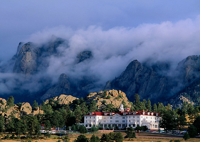 Stanley Hotel, historic, clouds, Estes Park, Colorado