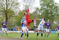 VOETBAL: WOLVEGA: 03-05-2015, FC FC Wolvega - VV Heerenveen, uitslag 0-0, Boy Vledder (#4), Niels Talsma (#21) Gerwin de Groot (#1), Thom van Lingen (#9), Anne Faro #25), ©foto Martin de Jong