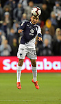 Carlos Rodriguez of C.F Monterrey heads the ball during the CONCACAF Champions League semifinal soccer game on April 11, 2019 at Children's Mercy Park in Kansas City, Kansas.  Photo by TIM VIZER/AFP
